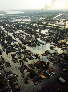 Flooding in New Orleans the day after hurricane Katrina struck the area.